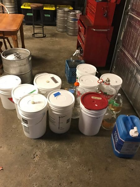 A pile of soon to be filled cider containers!