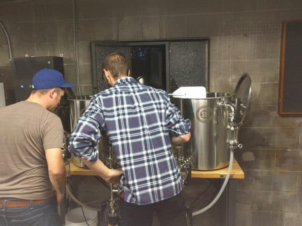 Checking out Justin's brewery